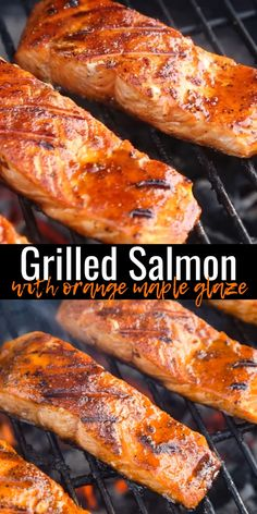 Perfectly grilled salmon flavored with a delicious orange maple glaze. This is a great grilled dinner! Grilled Salmon with Orange Maple Sweet Glaze is a great meal to ring in the new year with. Healthy, yet indulgent enough to eat on a date night! Grilled Fish Recipes, Grilled Salmon Recipes, Grilled Seafood, Seafood Recipes, Chicken Recipes, Cooking Recipes, Tilapia Recipes, Bbq Fish Recipes, Salads