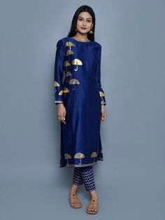 Blue Chanderi Block Printed Kurta with Cotton Pants - Set of 2