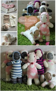 The sweetest collection of diy sock animals to make Sheep Crafts, Sock Crafts, Sewing Toys, Sewing Crafts, Sewing Projects, Sewing Stuffed Animals, Stuffed Animal Patterns, Sock Stuffed Animals, Diy Sock Toys