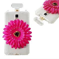Note 3 - Clear, Rhinestone-Studded Flower Perfume Bottle Case With Strap