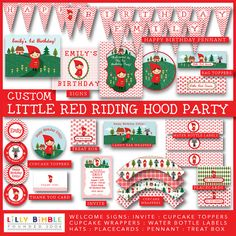 LITTLE RED RIDING HOOD PARTY  :::::::::::::::::::::::::::::::::::::::::::::::::::  Personalized DIY printable Little Red Riding Hood Party kit in PDF