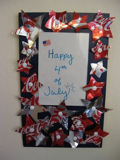 4th of July Frame made out of Coke Cans