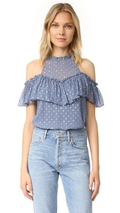 507230840a5c49 Airy ruffle trim complements the breezy feel of this crinkled chiffon  Rebecca Taylor top. Lamé