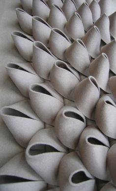 & decorative acoustic wall tiles by textile designer Anne Kyyr. - textiles & textures & prints oh my 2 - Textile Texture, Fabric Textures, Textures Patterns, Textile Art, Textile Manipulation, Art Du Fil, Paperclay, Soft Sculpture, Ceramic Sculptures