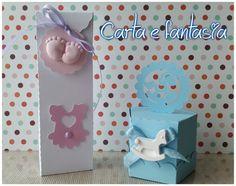 scatoline per confettata battesimo/nascita con gessetto in polvere ceramica