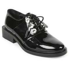 KENZO Patent Leather & Metal Oxfords (€120) ❤ liked on Polyvore featuring shoes, oxfords, apparel & accessories, black, patent leather oxfords, black oxfords, black oxford shoes, oxford shoes and black patent oxfords