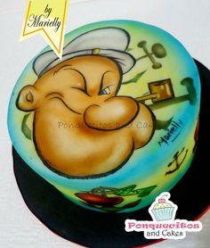 Popeye Airbrush Cake Cake by marielly