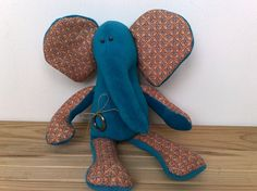 Elephant - Baby Elephant - Elephant Baby - Aquamarine Plush Toy - Tilda - Softie Plushie Toy - Blue Elephant - Child Friendly - Cute Toys. $42.00, via Etsy.