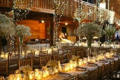 Barn Weddings: Reception Seating Long rectangular tables with neutral colors lend themselves to barn and natural settings