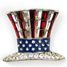 Trifari 'Alfred Philippe' US Patriotic Baguette Uncle Sam's Hat Pin