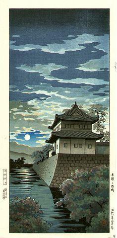 Nijo Castle, Kyoto, by Tsuchiya Koitsu, 1933 Japanese Artwork, Japanese Painting, Japanese Prints, Kyoto, Nijo Castle, Japanese Woodcut, Art Chinois, Japanese Castle, Art Asiatique