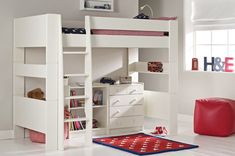 Purchase a Solitaire White High Sleeper at Room To Grow. We offer price match availability on the Solitaire White High Sleeper & free delivery available 6 Year Old Girl Bedroom, Boy And Girl Shared Bedroom, Girl Room, Girls Bedroom, High Sleeper With Desk, High Sleeper Bed, Study Bed, Maximize Small Space, Low Bookcase