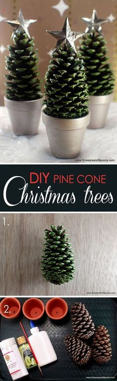 Star-Topped pinecones in silver planters. groupings of these diy pinecone christmas Pine Cone Christmas Tree, Winter Christmas, Christmas Holidays, Christmas Ornaments, Christmas Star, Office Christmas, Cheap Christmas, Christmas Christmas, Simple Christmas