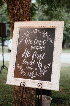 We love because he first loved us 1 John wedding sign Wedding Signs, Our Wedding, Dream Wedding, Wedding Props, Wedding Album, Wedding Decor, Wedding Stuff, Wedding Ideas, 1 John 4 19