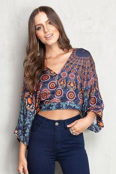 blusa kimono estampada mandala - Blusas | Dress to