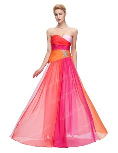 GK 2014 New Fashion 100% Real Colorful Long Ball Prom Gown Strapless  Chiffon Evening Dresses 89684c197f4