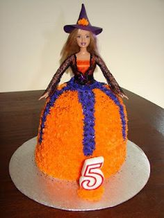 Halloween (Witch) Barbie cake I made for my daughter's 5th Birthday.