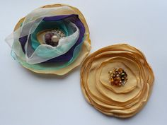 Purple Turquoise and Golden Sand Organza Flower Pin by MaijaFeja, $14.00