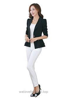 Oops Style Womens Blazer Slim Fit One Button Slim Fit Casual Suit Jacket  Black S – Fashion 4b08bb16e