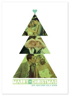 3 triangles to make a Christmas tree.  Could be done with recycled Christmas cards