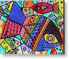 Wild Tribal Peacock Fish Acrylic Print by Sandra Silberzweig