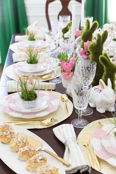 Easter table settings Colorful easter table Easter tablescapes Easter table decorations Easter table Easter centerpieces - Easter spring tablescape ideas decorating bunny rabbit sterling silver c - Elegant Table Settings, Easter Table Settings, Easter Table Decorations, Table Centerpieces, Easter Decor, Easter Centerpiece, Easter Colors, Easter Celebration, Easter Brunch