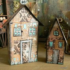 Servus and welcome to my little creative spot here in beautiful Vienna! I would like to share two tiny mixed media houses today that just . Small Wooden House, Wooden Houses, Painted Houses, Cute Little Houses, Putz Houses, Village Houses, Glitter Houses, Paper Houses, Miniature Houses