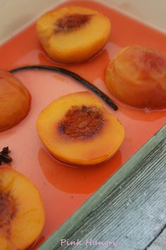 vanilla white wine poached peaches