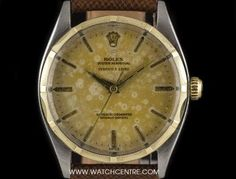 Rolex S/G Double Name Oyster Perpetual Retailed By Serpico Y Laino 1004 Rolex Oyster Perpetual, Vintage Rolex, Breitling, Oysters, Clock, Watches, Watch, Clocks, The Hours