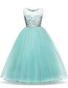 6641dd8aaf15 New Girl Long Tulle Dress Long Dress Kids Girl Retro Pageant Dresses  Children Birthday Prom Gown Wedding Flower Girl Dress - intl