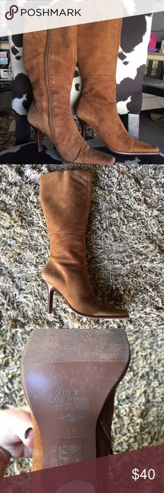 """Aldo Tan Suede Boots Aldo tan suede boots slightly worn. Pointed toe, narrow, zipper on side & 3"""" heel. In great condition made in Brazil Aldo Shoes Heeled Boots"""