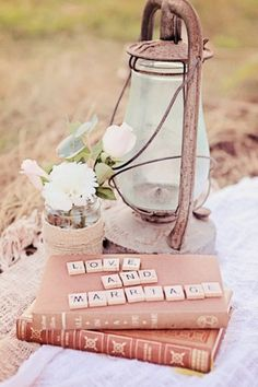 Rustic Wedding Decor...this is really cute and I love the idea of this sitting where the guestbook or the picture frame where people can leave a message or sign their names