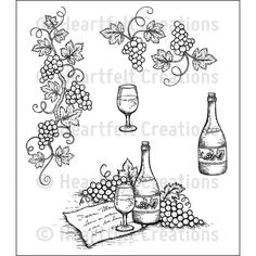 Italiana Grape Clusters Cling Stamp Set - - Cling Stamps - Fine wines and fruit on the vine are what you will find in this magnificent assembly of detailed cling stamps. The Italiana Grape Clusters Cling Stamp Grapes And Cheese, Side Step Card, Flower Stamen, Vine Tattoos, Black Tees, Step Cards, Wood Burning Patterns, Heartfelt Creations, Amazon Art