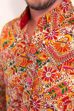 Zantt Mens Paisley Printing Short Sleeve Slim Stand Collar Summer Shirt Top