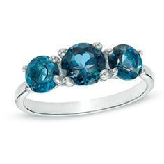 London Blue Topaz Three Stone Ring in Sterling Silver