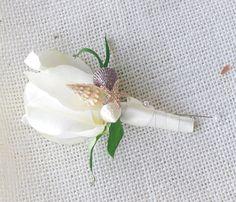 Rose and Beach Seashells Wedding Boutonniere by Wedideas on Etsy, $10.00