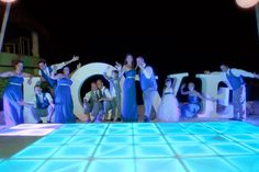 Giant LOVE letters and LED dance floor for reception on Hard Rock Riviera Maya's South Beach location.
