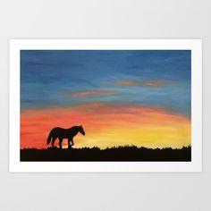 Lone Horse Sunset Acrylic Painting Print