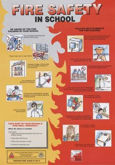 School Fire Safety Measures- Keep your Kids Safe in School all the Time Fire Safety Poster, Health And Safety Poster, Safety Posters, Fire Safety For Kids, Fire Safety Tips, Child Safety, Safety Rules, Elementary Bulletin Boards, Teacher Bulletin Boards