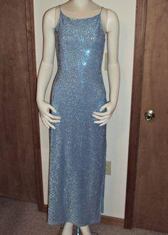 Vintage Blue Clubwear Dress Small Silver Glitter Sequin Dots Backless Side Slit  #Hyphen #EveningWear #Clubwear