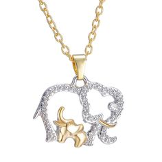 New arrival!: Elephant Silver/G.... Check it out now! http://misopunny.com/products/elephant-silver-gold-crystal-pendant-necklace?utm_campaign=social_autopilot&utm_source=pin&utm_medium=pin