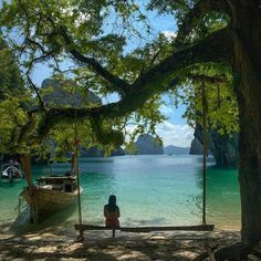 Krabi, Thailand. Love the swing. Love this scene.