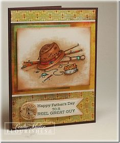 handmade Father's Day card ... fly fishing theme ... luv the antique feel of the image ... Flourishes ...
