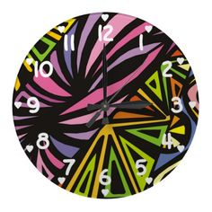 Abstract Colorful Zig Zag  Pattern Wall Clock