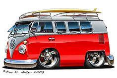 Catch tha Bus by on DeviantArt Volkswagen Bus, Vw T1, Vw Caravan, Vw Camper, Rat Fink, Weird Cars, Cool Cars, Wolkswagen Van, Bus Cartoon