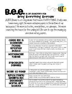 This is a sample of my BEE binder introduction. ...