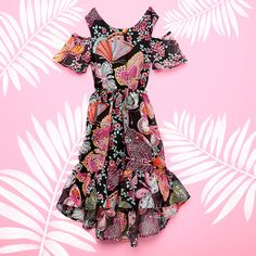 Girls' fashion | Kids' clothes | Butterfly print dress | Cold-shoulder | Hi-low | Vacation outfit | The Children's Place