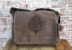 Cotton Canvas Messenger Bag - Leaf and Tree Illustration - Screen Printed Messenger Bag