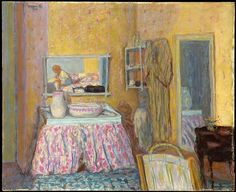 Bonnard delighted in portraying scenes of domesticity, everyday events that take place mostly in dining rooms and in the bath. This picture presents a casual view into the corner of a dressing room in the artist's house at Saint-Germain-en-Laye, near Paris, where he lived during World War I