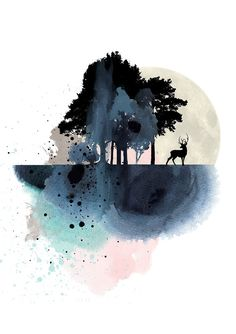 Nature wall art, mountain art print, watercolor poster, prints, modern deer…